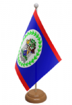 Belize Desk / Table Flag with wooden stand and base